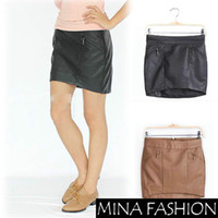 Chiffon Above Knee Women DUAL ZIPPER POCKET PACKAGE HIP BUST BACK WITH INVISIBLE ZIPPER LEATHER SKIRT WF-4482890Freeshipping