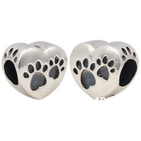 sterling silver beads - Sterling Silver Heart Charm Beads Fits Pandora Style Bracelets Jewelry