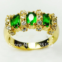 Wholesale Jewellery New emerald lady s KT yellow Gold Filled Ring size7 free