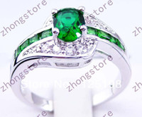 Wholesale Z060 Jewellery Brand New emerald lady s KT white Gold Filled Gemstone Ring sz7