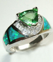 Wholesale Jewellery emerald opal lady s Silver filled Ring size6 S003