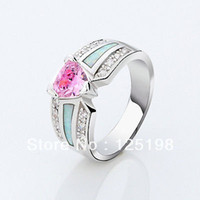 Three Stone Rings Unisex Prong setting Jewelry pink sapphire opal lady's 10KT White Gold Filled wedding ring size6 7 8 9 10 s005