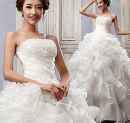 Wholesale 2014 New Princess Strapless Beaded Bride Wedding Dress Lace up Slim Fit Pelpum Ruffled Party Evening Formal Gowns Maxi Long Dress C095