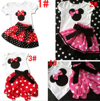 Girl Summer Short Girl's 2pcs Suits = Tshirt+Pants(Skirt) 4 Desigs 1-6Y 2013-4 New Outfits Sets Outwear Minnie Mouse