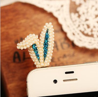 Earphone Jack Plugs 3.5mm iphone,SUMSANG,HTC Min.order is $10(Mix order) Free shipping 2013 Phone accessories 3.5mm Earphone Rabbit Pearl Jack Plug Cell phone Dust Plug