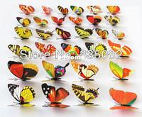 Wholesale 100pcs cm Vivid D duplex printing Multi Color Butterfly Fridge refrigerator Magnet for Home Decor wedding party gift Crafts