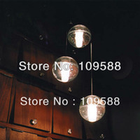 """Pendant Lights glass ball pendant lamp LED Bulbs 3 LIGHTS MODERN CLEAR CAST GLASS BALL """"METEOR SHOWER"""" CHANDELIER WITH POLISHED CHROME STAINLESS STEEL CANOPY (BULBS INCLUDED)"""