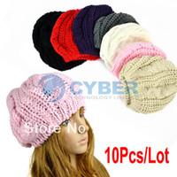 Wholesale Fashion Winter Warm Women Lady s Beret Braided Baggy Beanie Crochet Hat Ski Cap Colors