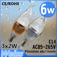 Wholesale led light w Dimmable led candle light E14 AC85 v Cool white Warm white CE ROHS years warranty W led bulb