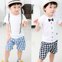 Boy Summer  Hot sale Fashion Little Man plain Cotton Suits Short Sleeve Bow Tie Suspender Strap Painting Shirt + Plaid Gird Shorts 2pcs Set Boys Sets