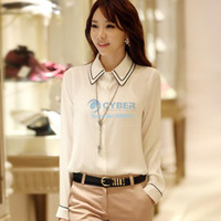 Women chiffon Polo 2014 New Women Hot Sale Elegant Women's OL Stand Collar Button Long Sleeve Chiffon Shirt Tops Blouse 5size S-XXL SV000466