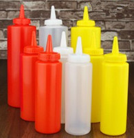 Wholesale 12 OZ Condiment Squeeze Bottle Set oz Vinegar Ketchup Mustard Sauce Dispenser Plastic