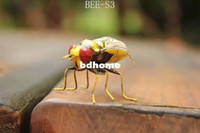 Animal bee magnet - x1 cm Bee Replica Fridge Magnets Memo Holder Clay Handicrafted Home Decor Mixed