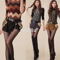 Shorts Women Capris 2014 New Sexiw Wholesale Women Fur Pocket Zippered Woolen Short Pantskirt Short Skirt Winter Online Sale Free Shipping 9325