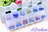 Wholesale 2014 New Mix Color Circle Beads Nail Art Decoration Gems Hot Fix Rhinestones Glitters Beautiful Sticker