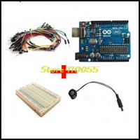 Wholesale 5pcs Uno R3 Kit for arduino points Breadboard Flexible jumper wires USB Cable and V Battery Connector