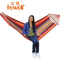 Cotten Outdoor Furniture 2012 years Hewolf canvas outdoor hammock thickening single hammock swing belt wooden sticks 1550