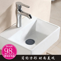 Wholesale Special shipping sanitary ceramics Square Art Basin Counter Basin Single hole ceramic bathroom vanity cabinet basin