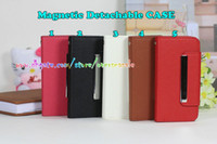 Wholesale Magnetic Detachable cover Flip Stand Wallet Credit Card Litchi Skin Leather case Hard inner shell cases For Iphone S S