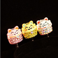 Earphone Jack Plugs 3.5mm  Min.order is $10(Mix order) Free shipping 2013 Cell Phone Accessories Lovely Cat 3.5mm Rhinestone Erphone Jack Plug Dust Plug