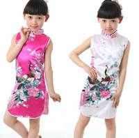 Wholesale 1pcs retail hot selling Baby Girl Dress Chinese Traditional Peacock Dress Summer Children Silk China Qipao