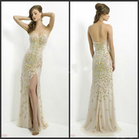Wholesale High quality New Custom made Chiffon Sweetheart Backless Sheath Split Girls Pageant Dresses Crystals Prom Gown