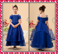 Wholesale 2014 Pageant Dress Sheer A Line Spaghetti Strap Short Sleeve Royal Blue Ankle Length Lace Flower Girl Dresses Applique Communion Dresses