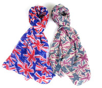 Wholesale New Polyester UK Flag Scarves Union Jack Scarf for Women