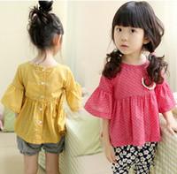 Girl Spring / Autumn Standard New Korean 2014 Children Girl's Princess Flare Sleeve Dots Printed T Shirts Cute Lace Pocket Back Button Tee Shirt Green Yellow F0415