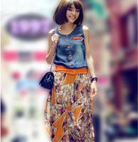 blue jean skirts - HT431 Summer new women clothing jean floral bohemian long skirt Shitsuke chiffon vest women one piece dress S XL