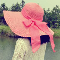 Wholesale Fashion Chic Womens Girl Straw Cap Flax Bow Wide Large Brim Summer Beach Sun Hat