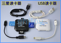 Wholesale Micro USB2 in OTG Card Reader USB Cable For Samsung Galaxy S3 S4 USB SD TF mini SD MS M2 DHL FREE A