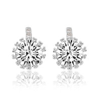 Women's solid gold jewelry - Aivni CT Austria crystal K gold plated solid sterling silver earrings European fashion jewelry Eay1134