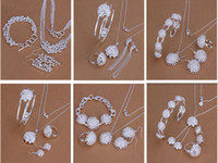 Wholesale New Style Mixed Order Silver fashionable Jewelry Necklace Bracelet Earrings Rings Women s Jewelry Roses Set Hot