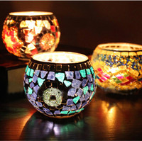 Glass lighted cup holder - Beautiful Color Candle Holder Mosaic Tealight Cup Tray Candlelight Dinner Supplies Wedding Party Decoration SH279