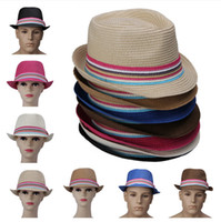 Stingy Brim Hat See Picture Yarn Dyed New Stingy Brim Hats Women Fashion Stripe Unisex Papyrus Straw Hat Outdoor Travel Beach Hat Sunhat Fedora Hat DVZ