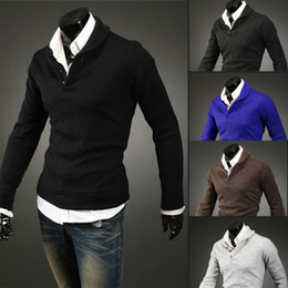 Wholesale 2014 Spring New Men s Sweaters Stylish Slim Fit Classic Long Sleeve All Matching Solid Color Pullovers