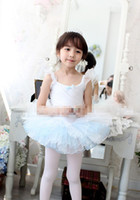 Wholesale Summer Fashion Ruffles Children Girls Pompon Blue Dance Dresses Sleeveless Kids Gymboree Clothes Princess Ballerina Dancewear Dresses B3385