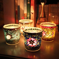 Wholesale Handmade Mosaics Color Candle Holder European Windproof Candle Cup Bar Decoration Party Favors SH278