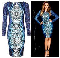 Wholesale Hot Sale Celebrity Bodycon Bandage Dress Leopard Print Long Sleeve O Neck Thin Waist Bandage Fashion Women Party Dresses CA060