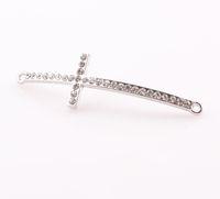 Wholesale 2013 NEW Slender Curved Sideways Cross Connector Rhinestone Crystal Cross Charms Pendant Fit DIY Bracelet Jewelry