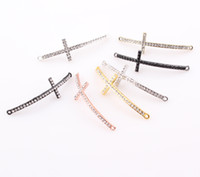 Connectors cross beads - DIY Bling Thin Curved Sideways Crystal Cross Rhinestone Cross Bracelet Necklace Connector Beads