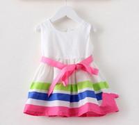 Wholesale 2014 New Summer Girl Children Skirt Beautiful Color Stripe White Dress Ribbon Bow Vitality Princess Skirt G0004