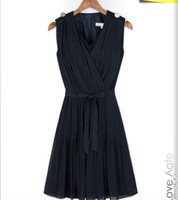 Casual Dresses V_Neck Knee Length Foreign Trade New Women's Clothing European And American Fashion Stitching pleated One-piece Dress t0928