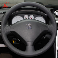 Wholesale Steering Wheel Cover For Peugeot Original Leather XuJi Car Special Hand stitched Black Genuine Leather Wheels Covers
