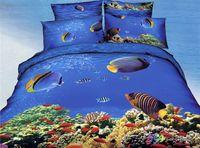 Adult Twill 100% Cotton blue sea world fish 3d prints bedding set queen size duvet quilt cover coverlets pillow case sets bed linen gift
