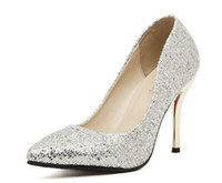 Women Pumps Spring and Fall Prom Evening Shoes Wedding Shoes Gold Silver Crystals Women Shoes Close Point Sequins Platform 0.5cm High Heel 9.5cm c78a54