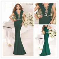 Wholesale 2014 New Sexy Cap Sleeve Green Lycra Spandex Tarik Ediz Mermaid Formal Evening Prom Gown Celebrity Red Carpet Dresses TK92341 Criss Cross