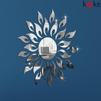 other other other Sun flower!Mirror effect ring wall clock Modern design,3D interior decoration living room,wall watches,Free shipping!
