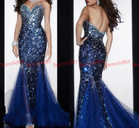 Wholesale Bling Bling Sweetheart Royal Blue Tulle Sequin Lace Crystals Beaded Mermaid Evening Dresses
